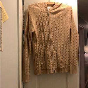 Tan zip up cardigan.  Size medium.